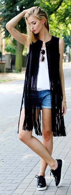 Black Long Fringed Vest Everyday Casual Summer Oufit Idea by Beauty - Fashion - Shopping