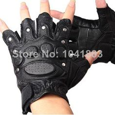 gl-j1#new 2014 men's half finger gloves leather non-slip rivet knuckle protection Fight gloves tactical gloves $9.90