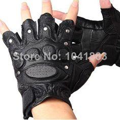 gl-j1#new 2014 men's half finger gloves leather non-slip rivet knuckle protection Fight gloves tactical gloves $9.90