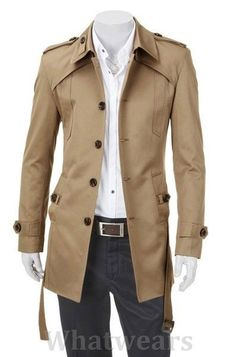 Mens Casual Single Breasted Slim Trench Coat
