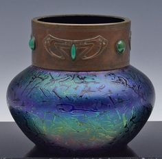 SUPERB LARGE c1900 AUSTRIAN LOETZ ART NOUVEAU JEWELED IRIDESCENT ART GLASS VASE | eBay