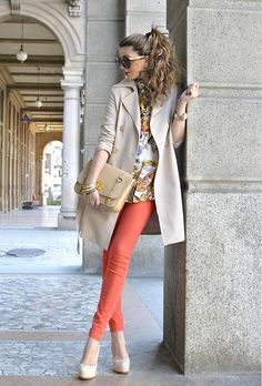 coral pants + trench + heels + ponytail
