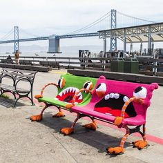 Artists Jill and Lorna Watt recently transformed a pair of benches near San Francisco's Ferry Building into whimsical crocheted monsters.