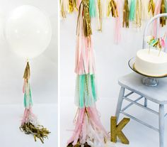 36 Inch Round Balloon with Tissue Tassels in by CarouselLane, $54.00 #balloons #party #decor #pink #mint #gold #wedding #shower #shabby #chic #round #36inch