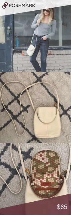 HOBO white leather fern crossbody Slightly worn but in new condition. Perfect little white bag. HOBO Bags Crossbody Bags