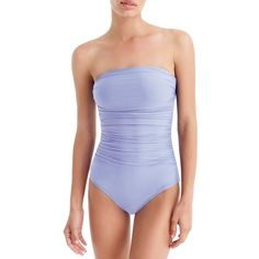 Women's J.crew Ruched One-Piece Bandeau Swimsuit ($98) ❤ liked on Polyvore featuring swimwear, one-piece swimsuits, soft lavender, swim suits, j crew bathing suits, 1 piece bathing suits, ruched bathing suit and one piece bathing suits
