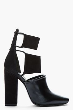 ALEXANDER WANG Black Kid suede and Polished leather cut-out Mackenzie boots