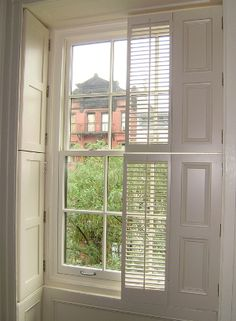 A demonstration of how pocket shutters fold into the - Raised panel interior window shutters ...