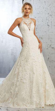 morilee 2018 bridal sleeveless halter jewel neck full embellishment elegant  a line wedding dress sheer lace af2a7c2b7360