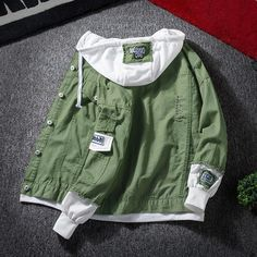 Bomber Jacket Homme, Denim Bomber Jacket, Hoodie Jacket, Denim Jacket Men Style, Man Jacket, Bomber Coat, Streetwear Jackets, Streetwear Fashion, Hooded Jean Jackets