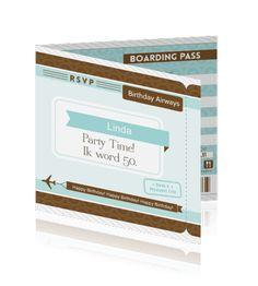Een leuke Boarding Pass Ticket voor een verjaardag. Echt een leuke uitnodiging.