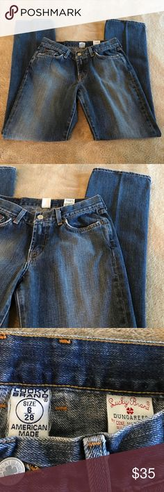 EUC LUCKY BRAND jeans distressed denim. 6/28 Lucky Brand jeans style 82CH040 size 6/28, 100% Cotton. Gently worn pants in excellent used condition. No holes, stains or odors.  From a smoke free home. Lots of life left.  I hate to see these go. My loss is your gain. Lucky Brand Jeans Boot Cut
