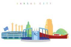 Your place to buy and sell all things handmade Kansas City Skyline, Skyline Art, Kansas City Royals, Arrowhead Stadium, Kauffman Stadium, Sporting Kansas City, Sport Park, Royal Art, City Tattoo