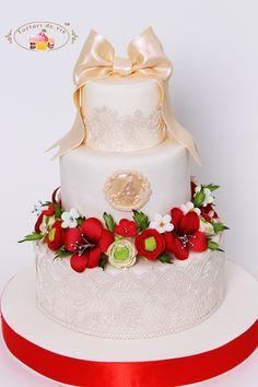 Tort de botez pentru Anastasia 3 Tier Cake, Tiered Cakes, Red Wedding, Wedding Flowers, Gorgeous Cakes, Anastasia, Wedding Cakes, Desserts, Blog