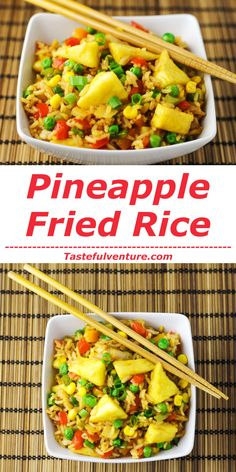 This Pineapple Fried Rice can be made in 20 minutes and is so much healthier than take-out! | http://Tastefulventure.com
