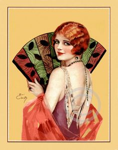 Flapper in a beaded dress. Art Deco illustration by Earl Christy.