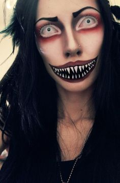 awesome scary eyes and teeth makeup for halloween.