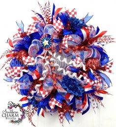 Deco Mesh Summer Patriotic Wreath Red White Blue Stripe July 4th Flower Door Wreath by www.southerncharmwreaths.com $159 #decomesh #wreath #patriotic #july4th #memorialday
