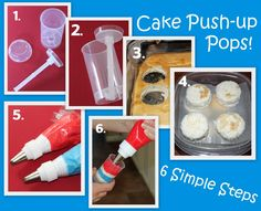 4th Of July Cake Push Up Pops  (No instructions other than the ones in the photo. Can get the containers here: www.etsy.com/listing/71783412)