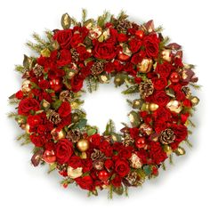 "Red Rose Holiday Wreath- 36"".  This one will go perfectly above you mantle.  Match this with a dozen red and orange roses to complete your mantle.  Simple yet sophisticated!"