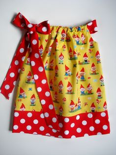 Buy this for Addy!  Size 5T    I SO LOVE THIS GNOME FABRIC!!    Girls, toddlers, baby pillowcase dress Gnoming Around Baby Harrill. $22.00, via Etsy.