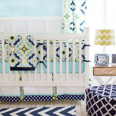 Starburst Navy and Lime Green Baby Bedding - our navy and lime green baby bedding uses a fun combination of colors for a baby boy's nursery.  This set combines bright colors with a traditional print.