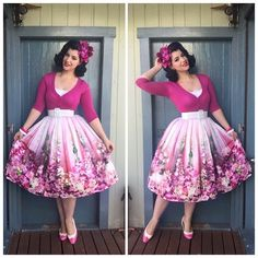 OOTD Top, Cardigan & Belt - @pinupgirlclothing Skirt - @chicwish Shoes- @baitfootwear Hair flowers - Bangles- Vintage i