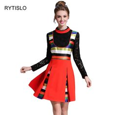RYTISLO Spring New Arrival Plus Size Women Dress Lace Patchwork Mixed Color Dress Stand Collar Full Sleeve Mini Dresses
