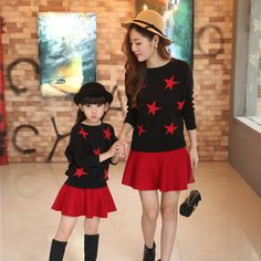 2016 Fashion parent-child children's clothing suits mother and daughter suit children star high quality fashion sweater dress
