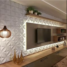 Quirky Home Decor tv wall decor ideas for an efficient and effective tv wall installation process! Wall Panel Design, Tv Wall Design, Design Case, 3d Wall Panels, Wall Texture Design, Home Interior, Living Room Interior, Living Room Decor, Interior Design