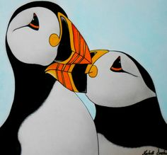 Puffins drawing.....Made from colored pencil