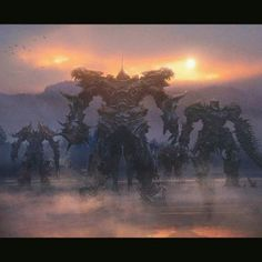 Knights. #transformers5 #transformers #autobots #decepticons #dinobots #grimlock #optimusprime #bumblebee #china #london #conceptart #sunset #thelastknight #art
