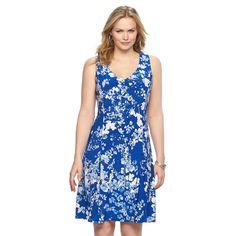 Plus Size Chaps Floral Godet Dress, Women's, Size: