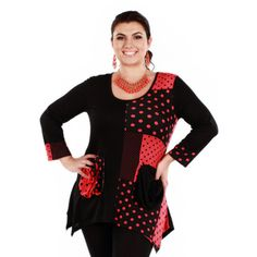 Women's Plus Size Black/ Red Polka-dot Long Sleeve Tunic