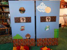 Super Mario cornhole boards by Benjamin Winter Mario Bros., Mario Party, Mario And Luigi, Diy Cornhole Bags, Cornhole Boards, Cornhole Designs, Backyard Games, Outdoor Games, Diy Games
