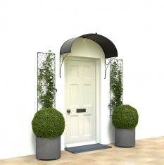 Elegant Victorian door canopy with ellipse shape. Perfect for wider front doors. Zinc galvanized steel shaped by hand near Bath, England. http://www.garden-requisites.co.uk/products/door-canopies/