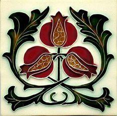 Historic Tiles - Moulded Art Nouveau Tiles - Pomagranate