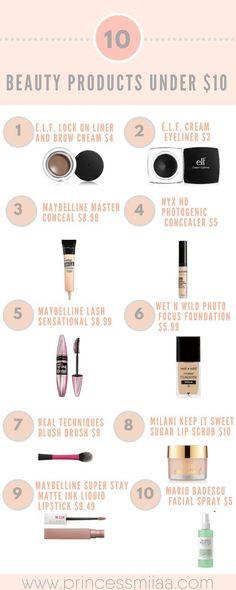 10 Beauty Products Under $10   10 productos de belleza en $10 dólares. - Princess Miiaa