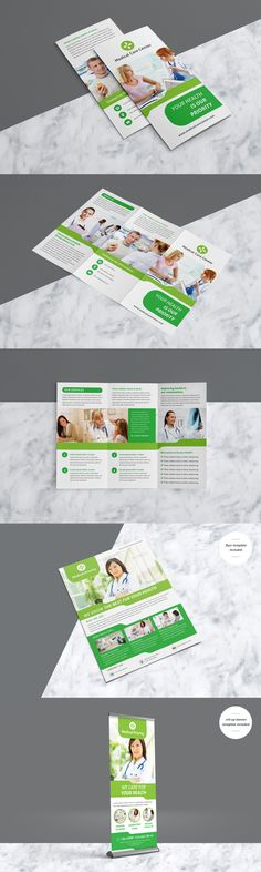 Professional & Clean Medical Trifold Brochure Pack With Include Flyer & Roll-up Banner Template AI, EPS