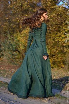 """Купить Средневековое платье """"Осенняя принцесса"""" - эко, средневековое платье…"""