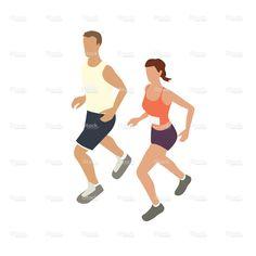 Jogging couple illustration