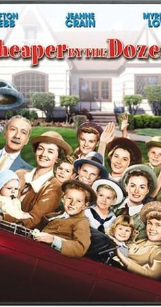 """Cheaper By The Dozen, original 1950 movie. Directed by Walter Lang.  With Clifton Webb, Myrna Loy, Jeanne Crain, Betty Lynn. """"Cheaper By the Dozen"""", based on the real-life story of the Gilbreth family, follows them from Providence, Rhode Island to Montclair, New Jersey, and details the amusing anecdotes found in large families."""