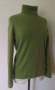McDuff Essentials Cashmere Turtleneck Sweater Womens M Light Apple Green #McDuffEssentials #TurtleneckMock #Casual