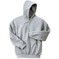 [12500]  	Gildan Ultrablend Pullover Hooded Sweatshirt    9.3-ounce, 50/50 cotton/poly; Air Jet Spun Yarn for no pill; double-lined hood with matching drawstring, double-needle stitched throughout, set-in sleeves, 1 x 1 athletic rib cuffs with Lycra, banded bottom, pouch pocket.    Product code: 12500  Qty:	1-11	12-24	25+  ea.	$27.98	$27.98
