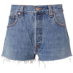 Re/Done Women's Clean Denim Cut Off Shorts (735 RON) ❤ liked on Polyvore featuring shorts, denim, denim cut offs, cutoff shorts, denim cut-off shorts, vintage cut off shorts and button fly shorts