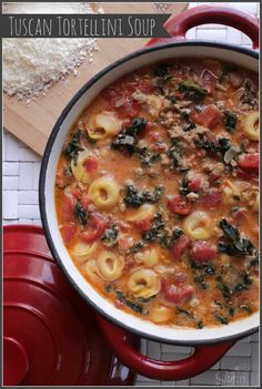 Tuscan Tortellini Soup (I subbed hot pork sausage, with added ital ssg and fennel) and half bag of frozen spinach. I also used dried ravioli for the tortellini. Soup Recipes, Cooking Recipes, Healthy Recipes, Healthy Foods, Yummy Recipes, Healthy Eating, Yummy Food, Chowder Recipes, Soups