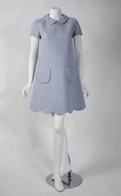 c. 1968 by; Andre Courreges (he introduced the miniskirt to France) Couture (SpACE-Age collection) Documented Gray Wool Scalloped Mod Mini Dress.... France