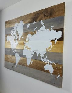 World Map on Wood  Wall Art  Wall Decor by AriesDenCollections