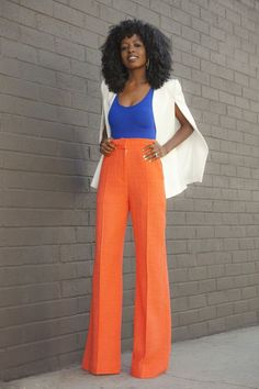 Neon Orange Wide Leg Trousers by Style Pantry / Orange turtle neck, cream wide leg pants & royal blue booties! Love this color combo Work Fashion, Fashion Outfits, Womens Fashion, Blue Fashion, African Fashion, American Apparel, Style Pantry, Outfit Trends, Wide Leg Trousers