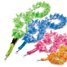 It is no surprise to find a rising demand of promotional lanyards at different functions and events. They are seen in use at schools, company events, common fairs, special gatherings , etc. Flower Lei, Hawaiian Theme, Tropical Paradise, Green And Orange, Summer Fun, Event Planning, Screen Printing, Party Themes, Cool Pictures